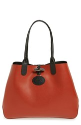 Longchamp 'Roseau' Reversible Leather Tote Black Black Brick