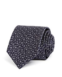 Bloomingdale's The Men's Store At Small Flower Stem Classic Tie Navy Silver