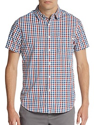 Life After Denim Fishing Gingham Print Cotton Sportshirt Red Snapper