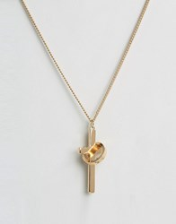 Chained And Able Cross Ring Necklace In Gold Gold