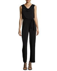 Muse Cowl Neck Sleeveless Jersey Jumpsuit Black