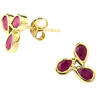 A B Davis 9Ct Gold Ruby Triple Design Earrings Red