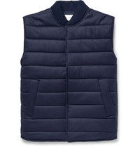 Officine Generale Quilted Wool Blend Gilet Navy