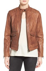 Bernardo Petite Women's 'Kerwin' Leather Jacket Carmel