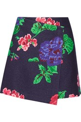 Msgm Floral Print Wool Blend Wrap Mini Skirt Navy