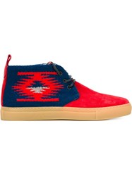 Del Toro Shoes Navajo Knit Lace Up Shoes Red