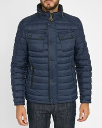 Barbour Navy Wool Twin V Neck Down Jacket