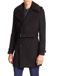 The Kooples Wool Blend Trench Coat Black