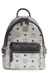 Mcm Small Stark Studded Coated Canvas And Leather Backpack
