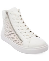 Steve Madden Women's Elyka Lace Up High Top Sneakers Women's Shoes White Multi