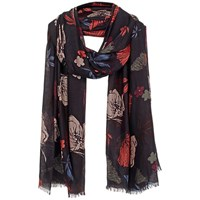 Fat Face Peony Floral Scarf Black Multi