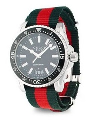 Gucci Dive Stainless Steel Watch Red Green