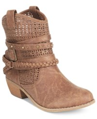 Naughty Monkey Not Rated Vanoora Perforated Ankle Booties Women's Shoes Tan