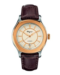 Ip Bezel Steel Automatic Watch Brown Salvatore Ferragamo