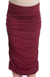 Lilac Clothing Women's Ruched Maternity Midi Skirt Ruby