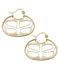 Sis By Simone I Smith 18K Gold Over Sterling Silver Earrings Wire Work Logo Hoop Earrings