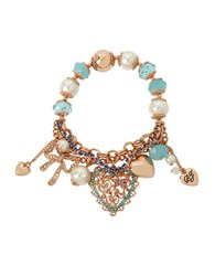 Betsey Johnson Filigree Heart Multi Charm Half Stretch Bracelet And Gift Box Blue