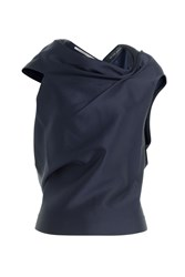 Roland Mouret Draped Top With Open Back Blue
