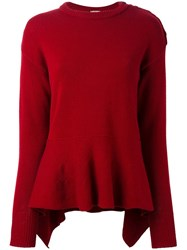 Nude Peplum Knit Blouse Red