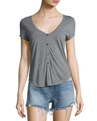 Alexander Wang Short Sleeve Henley Jersey Tee Heather Gray Heather Grey
