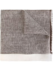 Canali Contrast Trim Scarf Brown