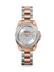 Breil Milano Manta Two Tone Stainless Steel And Crystal Bracelet Watch Rose Gold Silver