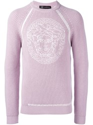 Versace Embroidered Medusa Sweater Pink Purple