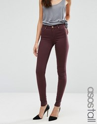 Asos Tall Lisbon Mid Rise Jeans In Blackened Oxblood Oxblood Red