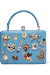 Alexander Mcqueen Embellished Leather Clutch Light Blue
