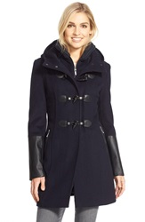 Bcbgmaxazria Faux Leather Trim Wool Blend Duffle Coat With Inset Bib Navy