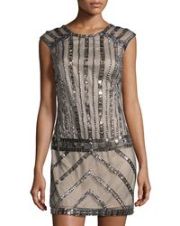 Phoebe Couture Beaded Cap Sleeve Dress Grey