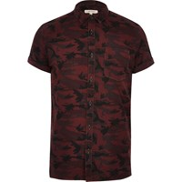 River Island Mens Berry Camo Short Sleeve Shirt Red