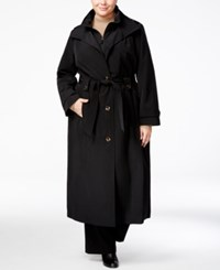 London Fog Plus Size Belted Maxi Raincoat Black