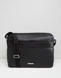 Tommy Hilfiger Leather Messenger Bag Black