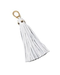 Etienne Aigner Long Pebbled Tassel Key Fob Optic White