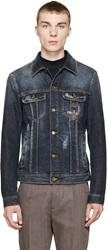 Dolce And Gabbana Blue Crown And Bee Denim Jacket