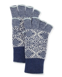 Brora Nordic Fingerless Gloves Indigo White