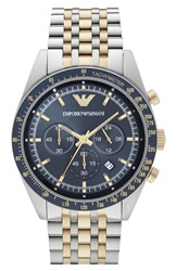 Emporio Armani 'Sport' Chronograph Bracelet Watch 46Mm Silver Gold Blue
