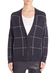 Brunello Cucinelli Cashmere And Silk Plaid Cardigan Navy