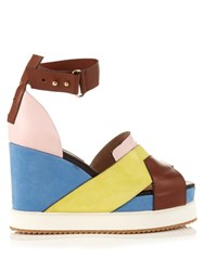 Chrissie Morris Isla Leather And Suede Wedge Sandals Pink Multi