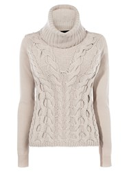 Karen Millen Chunky Cable Knit Jumper Neutral