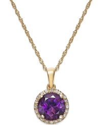 Macy's Amethyst 1 1 10 Ct. T.W. And Diamond Accent Pendant Necklace In 14K Gold