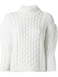 Simone Rocha Chunky Cable Knit Sweater Nude And Neutrals