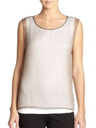 Peserico Organza And Cotton Tank Taupe