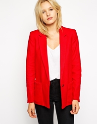 Mango Structured Blazer With Frayed Edge Strawberry