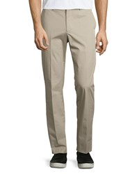 Vince Straight Leg Cotton Trousers Khaki