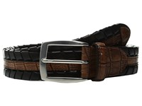Torino Leather Co. 35Mm Laced Harness With Gator Embossed Inset Black Tan Men's Belts