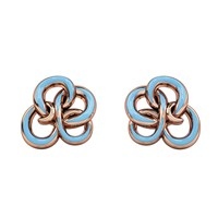 1986 Wiggle Wiggle Memory Knot Stud Baby Blue And Rose Blue Rose Gold