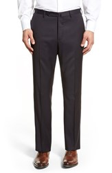 Men's Incotex Flat Front Solid Wool Trousers Dark Blue