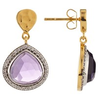 John Lewis Gemstones Pave Teardrop Earrings Gold Amethyst